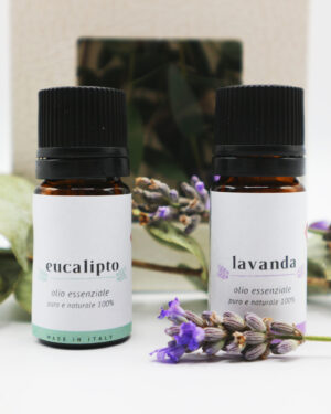 Confezione con olio essenziale di eucalipto e olio essenziale di lavanda - Oligea